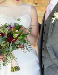 wedding flowers, purple and green