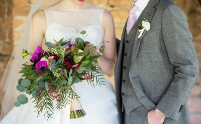 wedding flowers, purple and green