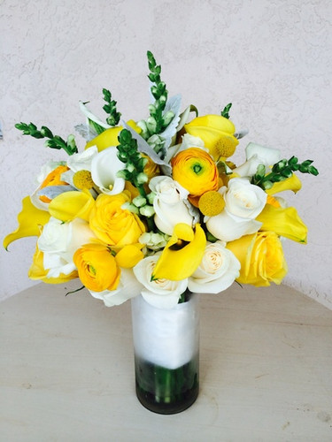 wedding floral, yellow and whites