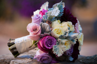 wedding floral, pinks, purples and cream