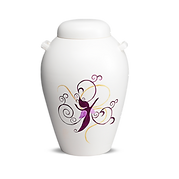 handmålad vit urna