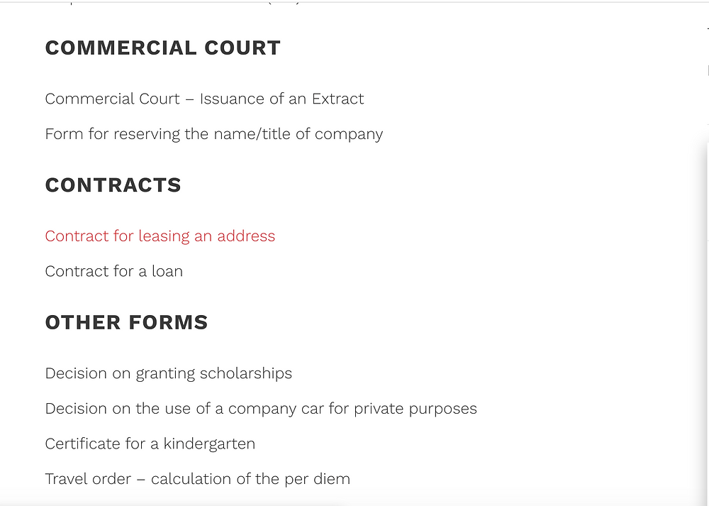 Forms provided by Infokorp