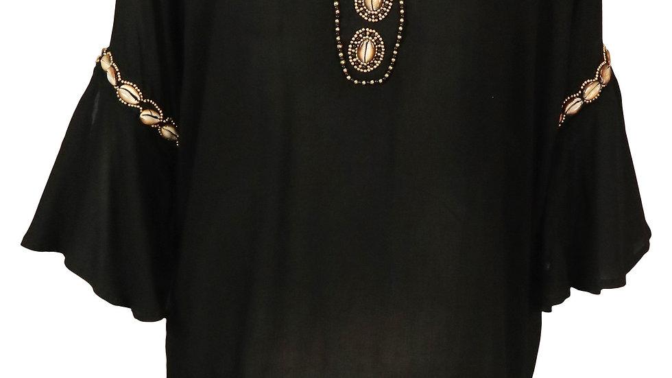 HOT LAVA Ebony shell blouse