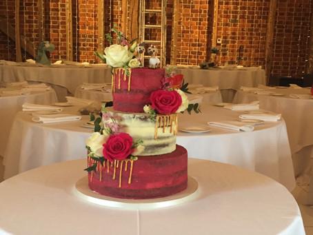 Raspberry and Ivory Wedding cake