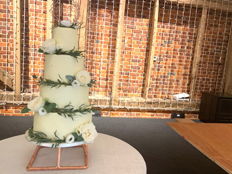 Ivory and green wedding cake