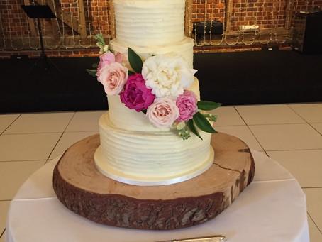 A beautiful floral gluten free wedding cake