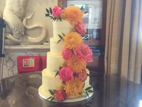 Bright floral vegan wedding cake