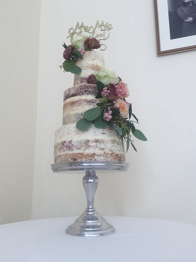 Ivory Pink And Burgundy Semi Naked Cake Wedding Cake