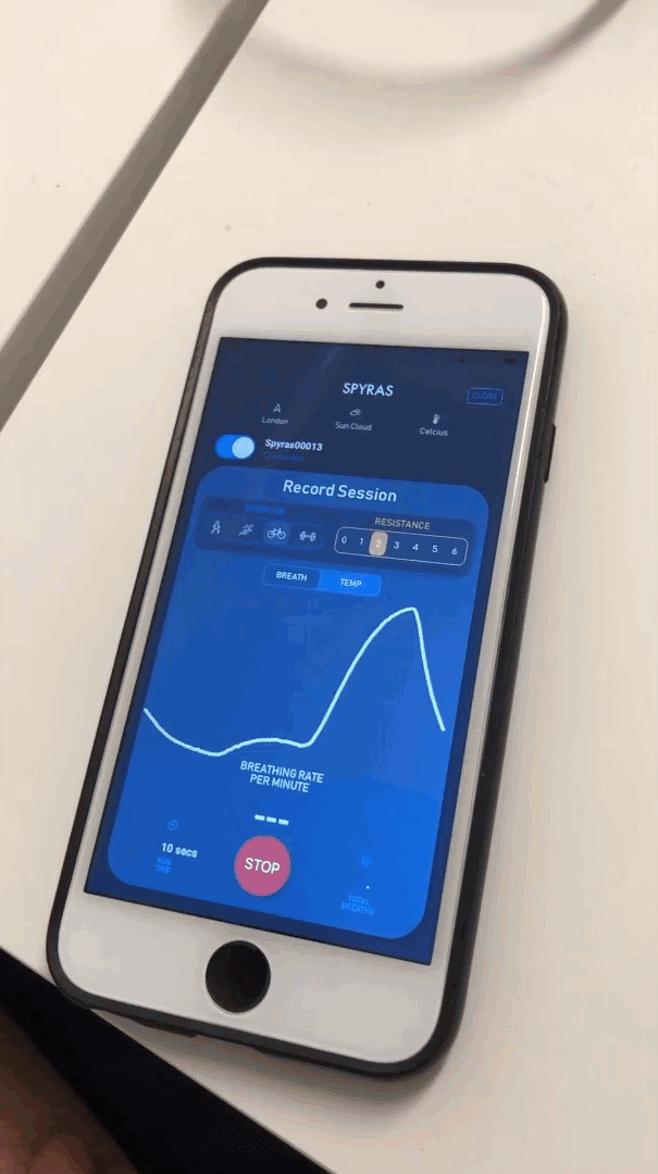 Spyras breathing sensors in a facemask connected to mobile app