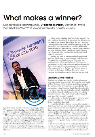 Private Dentistry Award 2010