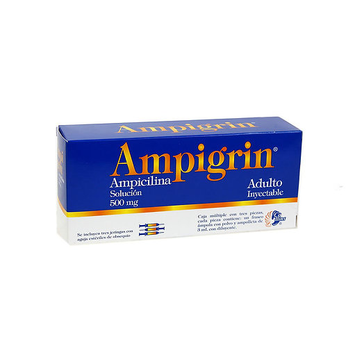 AMPIGRIN  INYECTABLE  ADULTO 500MG C/3