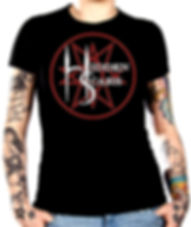 Alternative Style Clothing and Apparel for Electro Goth Sludge Metal Hard Rock Band Hidden Scars. Pentagram 10 Point Star Logo T Shirt Ladies.