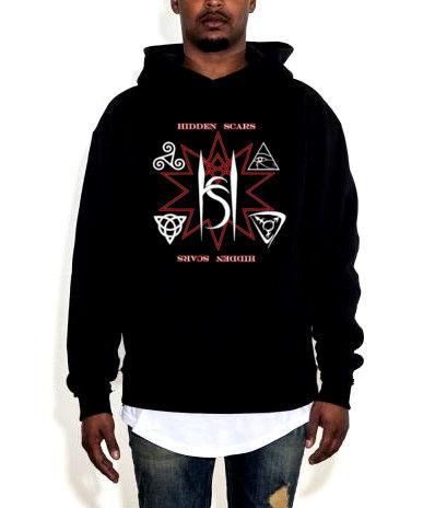 Alternative Style Clothing and Apparel for Electro Goth Sludge Metal Hard Rock Band Hidden Scars. Symbolic Triangle 10 Point Star Logo Black Pullover Hooded Sweatshirt.