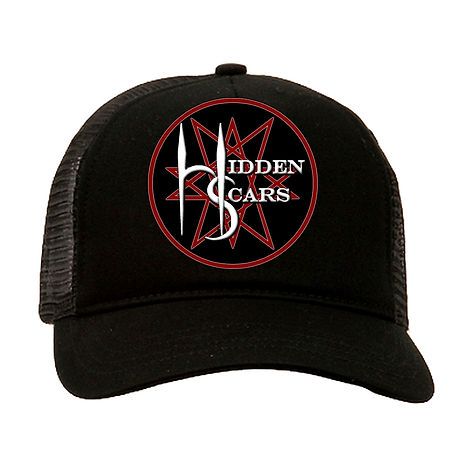 Alternative Style Clothing and Apparel for Electro Goth Sludge Metal Hard Rock Band Hidden Scars. Pentagram 10 Point Star Logo Black Trucker Hat.
