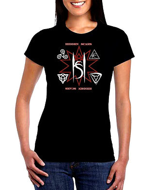 Alternative Style Clothing and Apparel for Electro Goth Sludge Metal Hard Rock Band Hidden Scars. Symbolic Triangle 10 Point Star Logo T Shirt Ladies.