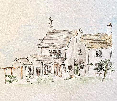 Blind Contour Home Illustration