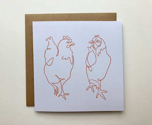 Chatting Chickens Card