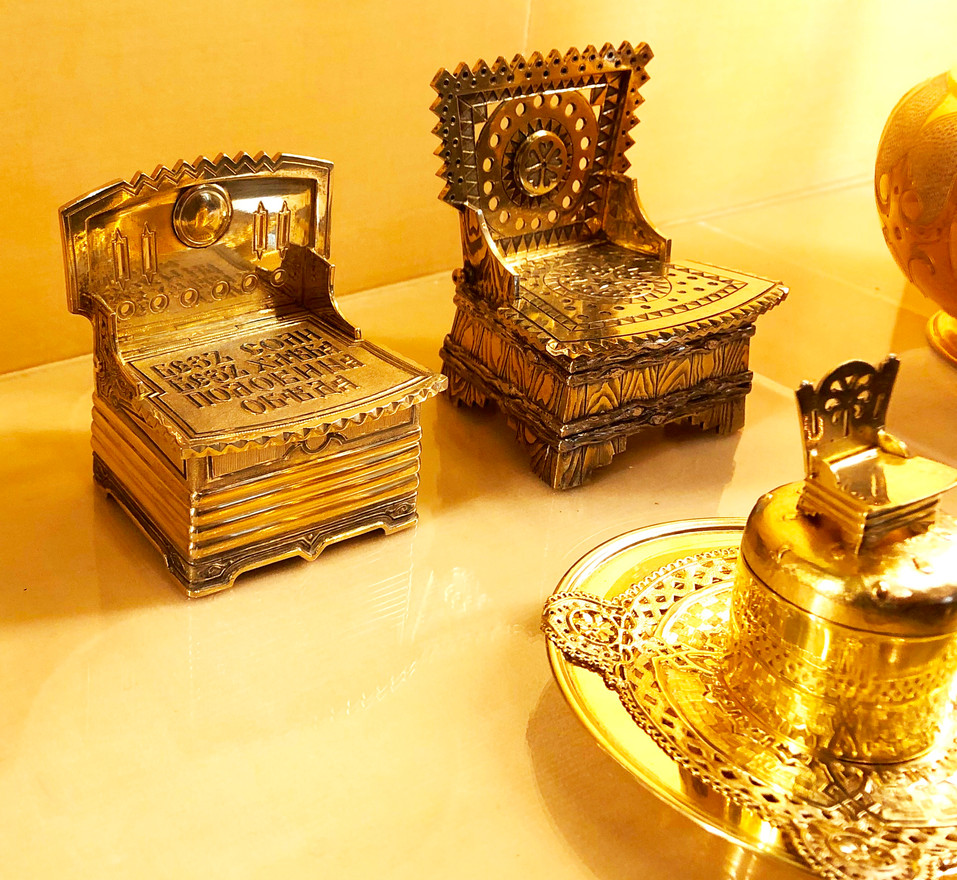Silver Throne Salts in Hillwood Mansion Collection