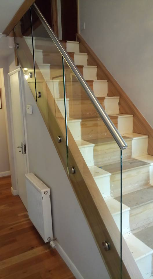 glass and oak stair case