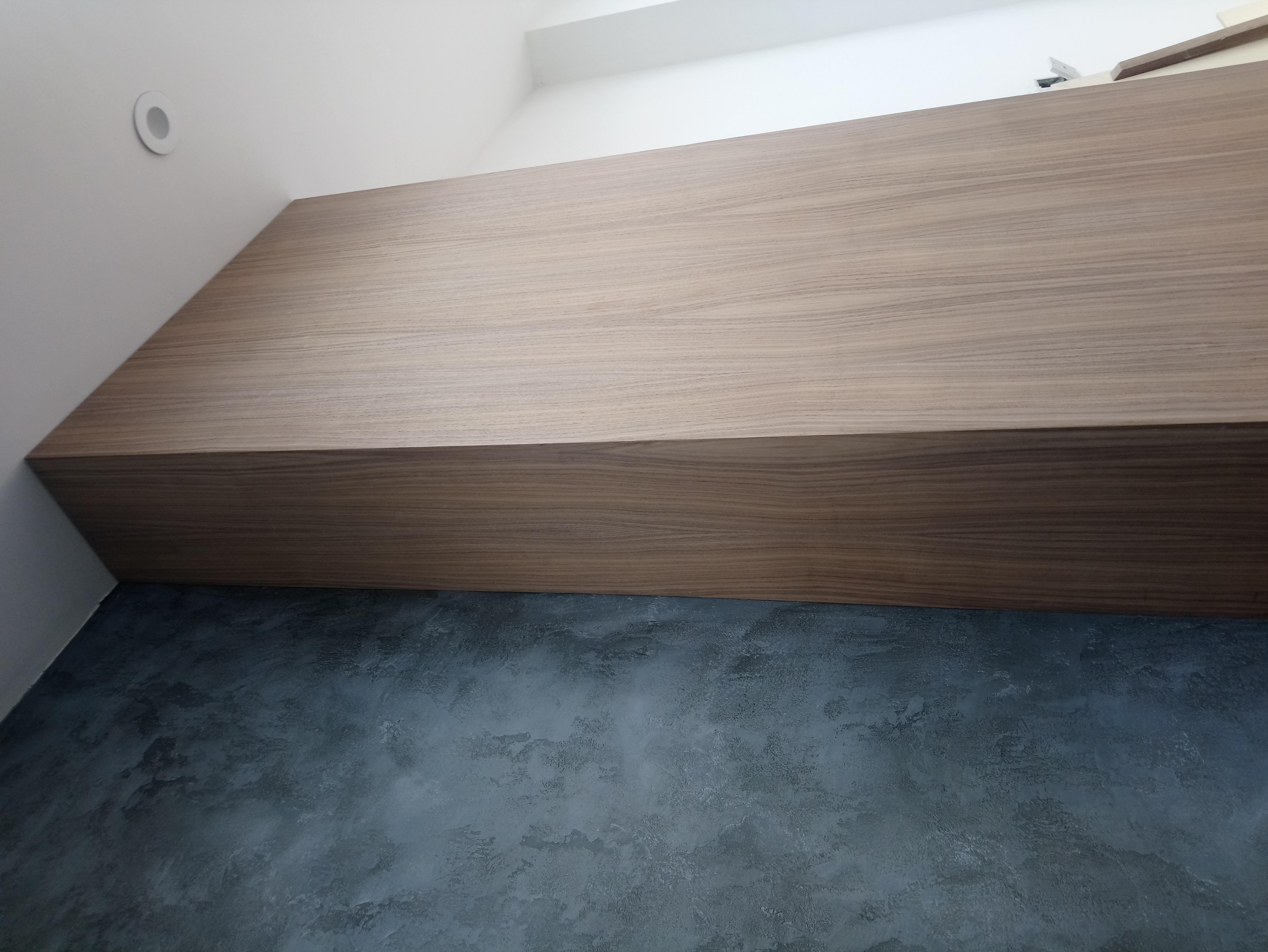 walnut feature wall