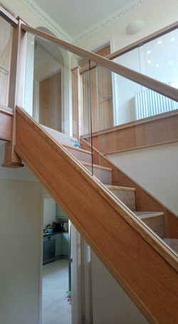 oak and glass stair case
