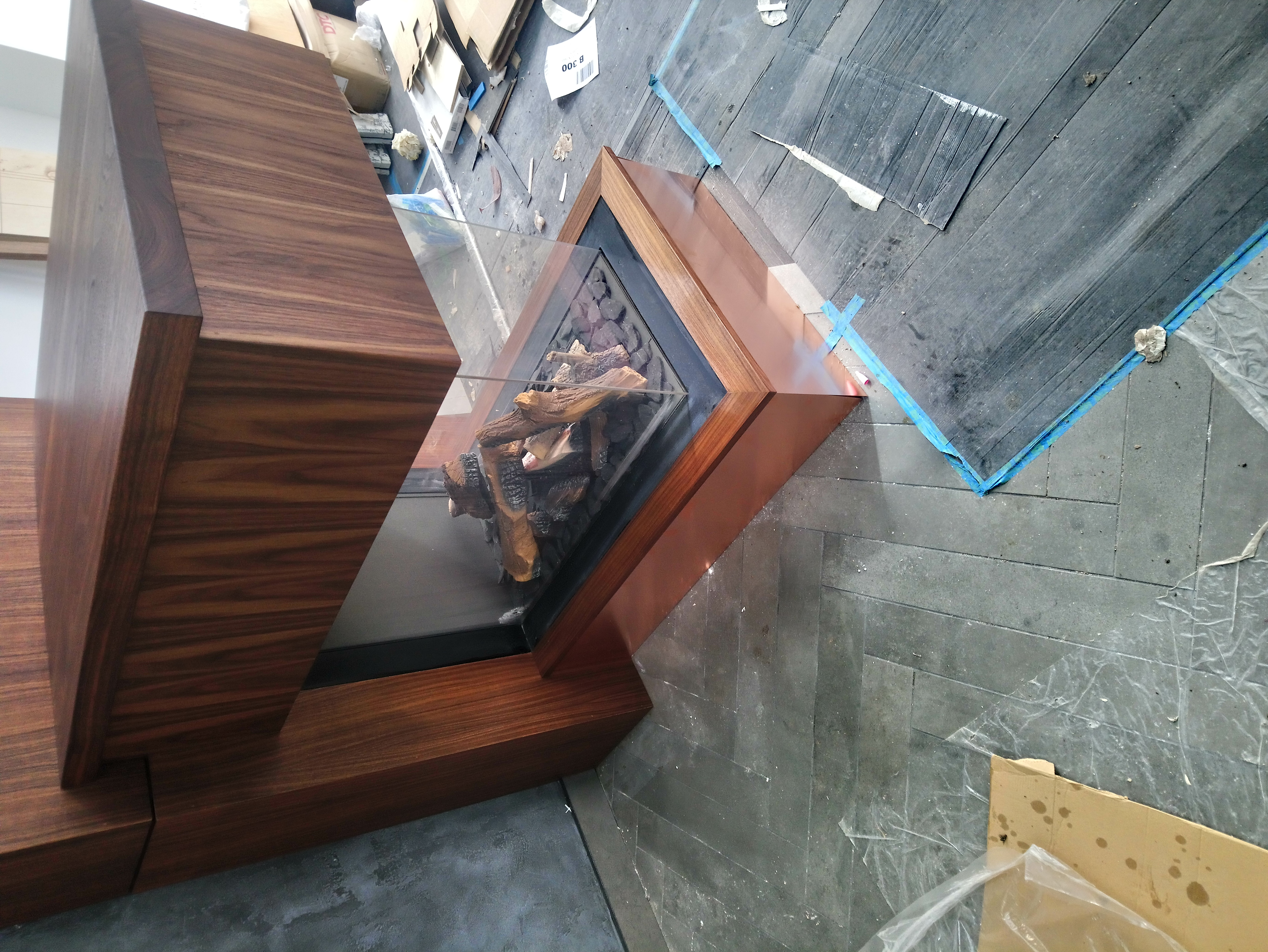 copper and walnut fireplace