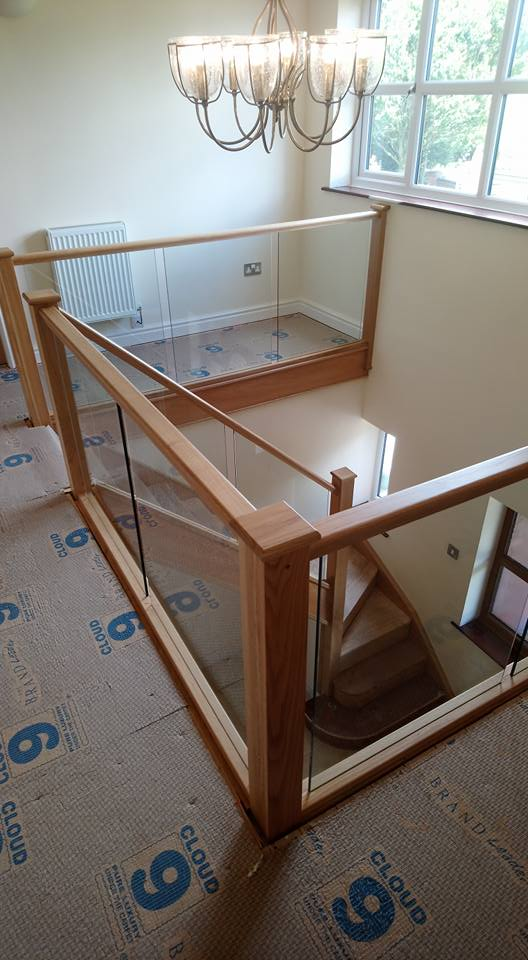 oak and glass stairs