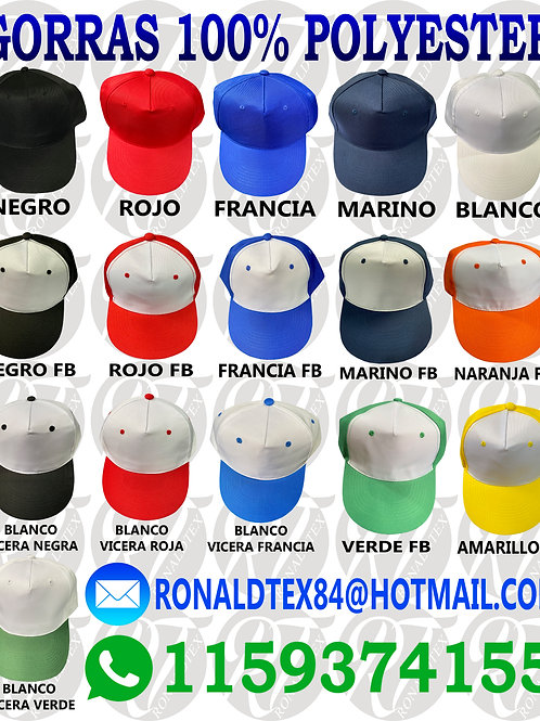gorras 100% polyester para sublimar