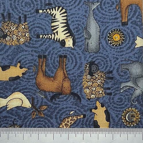 Mixed animal cotton print - blue
