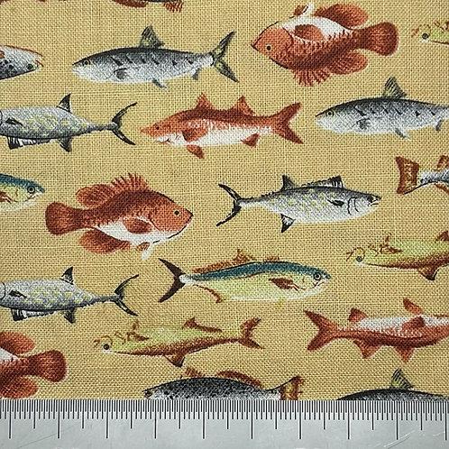Fish cotton print - yellow