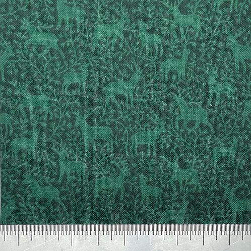 Deer print on emerald green cotton
