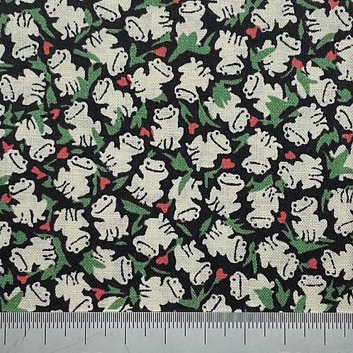 Frog print on navy cotton