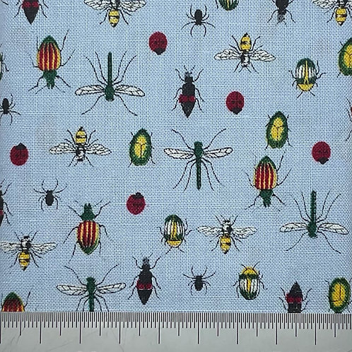 Mixed bugs print on blue cotton