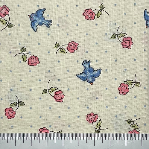 Blue birds and flowers cotton print