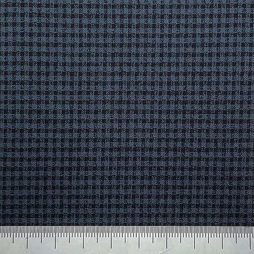 Tiny blue and black check cotton print