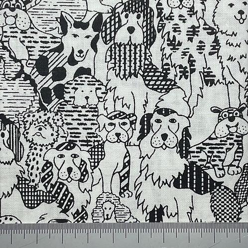 Black and white dog cotton print