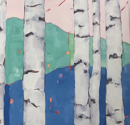 Pink & Blue Birch Study II