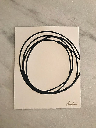 Messy Circle in Navy I (paper)