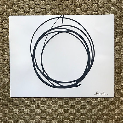 Messy Circle in Navy - Horizontal (on Paper)