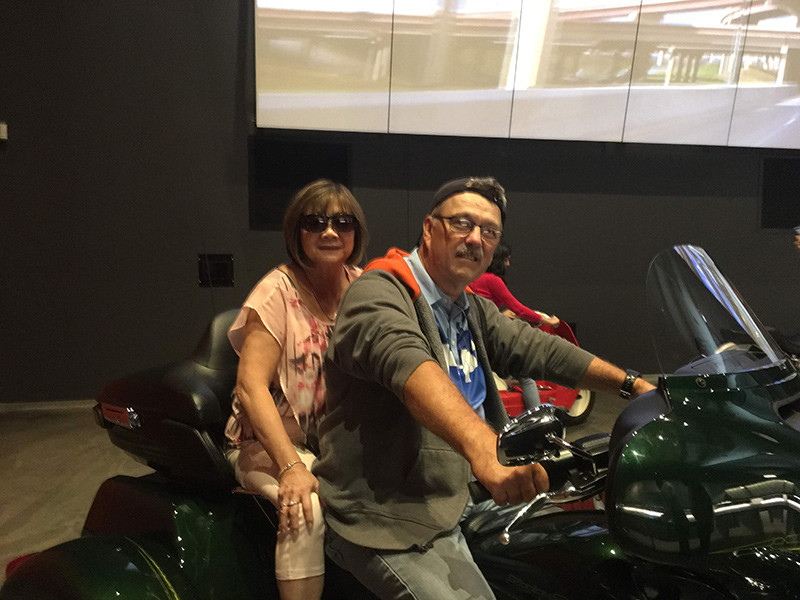 Anne and Paul Ardell on motorbike
