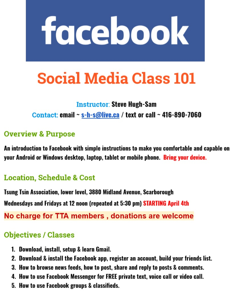 Lessons on How to Use Facebook - Starting April 4th