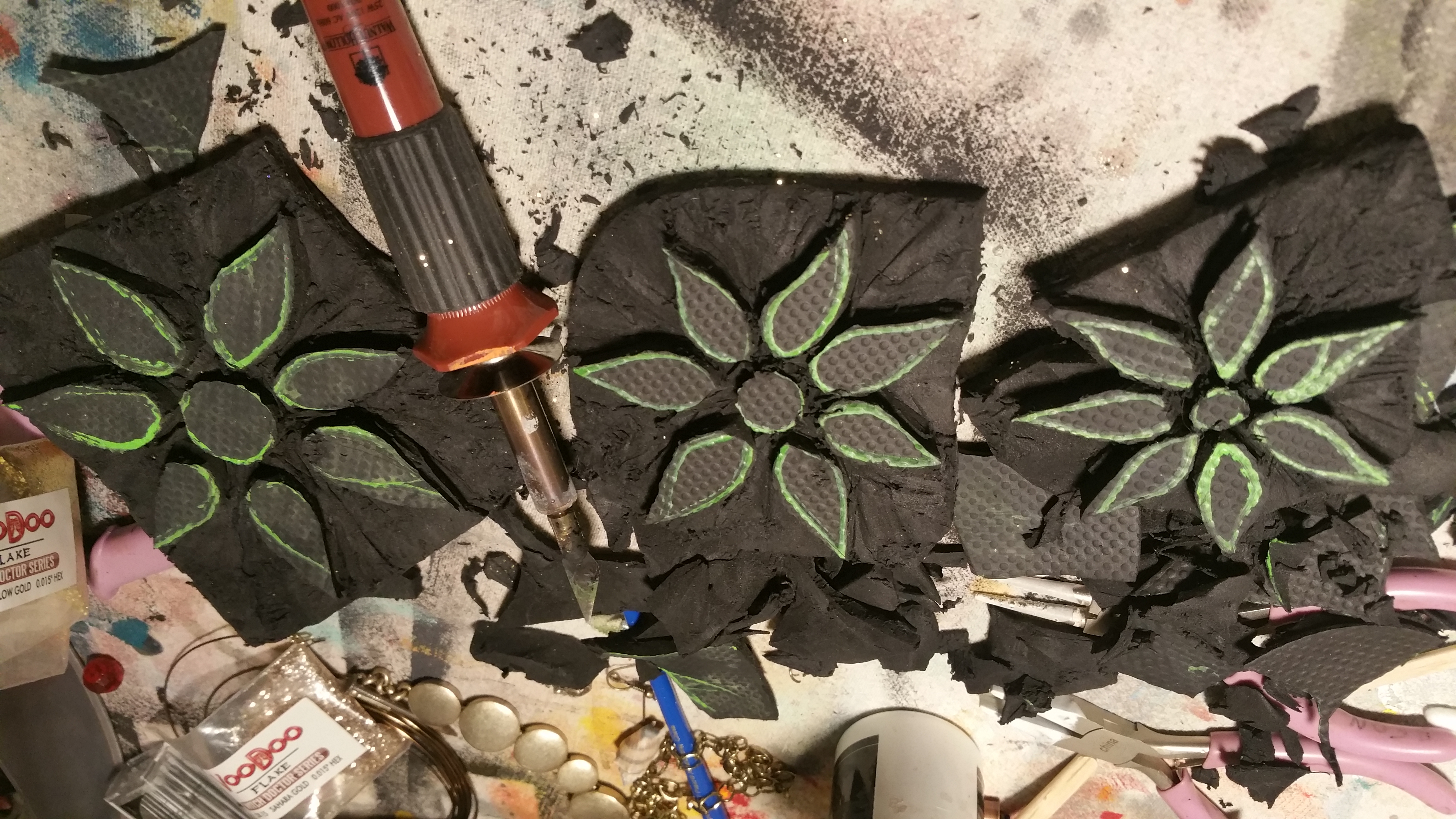 Hand carved flower stamps
