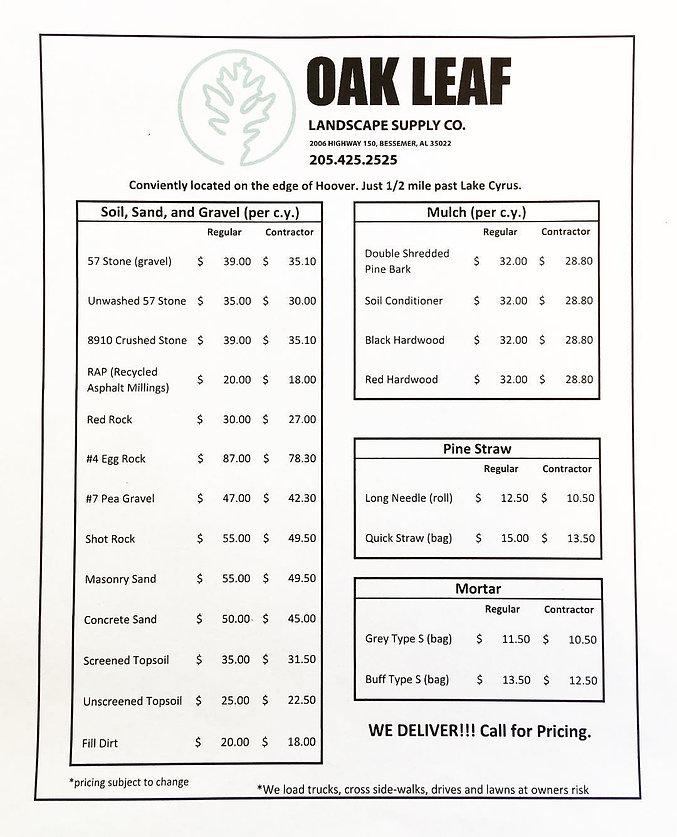 Oak Leaf Supply Menu