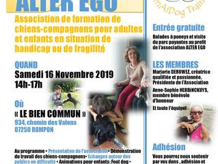 Journée Portes Ouvertes 16 Novembre  Association Alter Ego - Chiens Compagnons