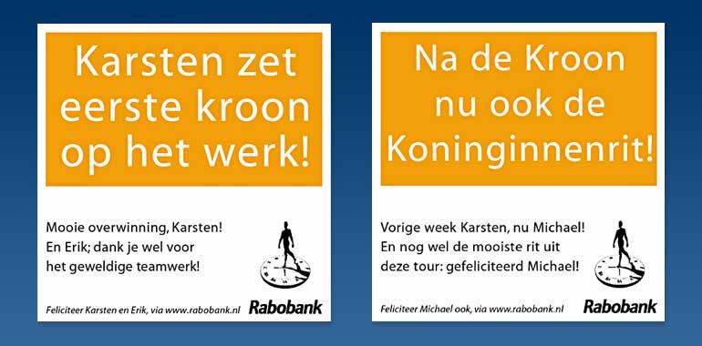 Rabo-advertentie felicitaties Tour
