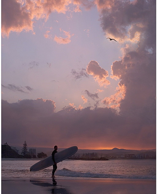 Sunset and surf