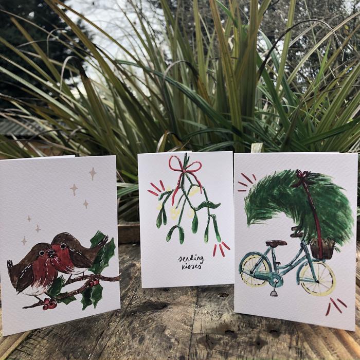 Robin, Misletoe and Tree