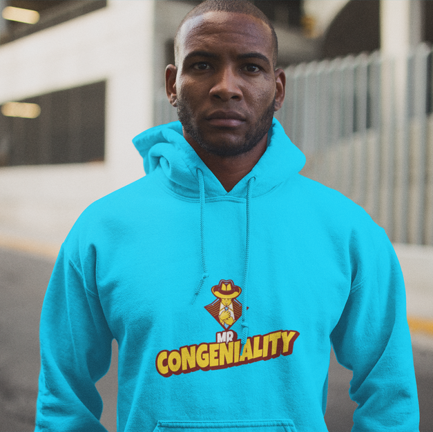 Congeniality pullover-hoodie.