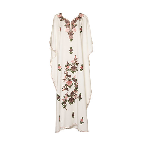 Kaftan (White with Peach Flowers)