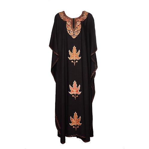 Kaftan (Black with Red Leaves)